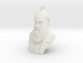 "Charles Darwin 1"" Bust, Pendant, Ear Ring, Charm,  in White Natural Versatile Plastic"
