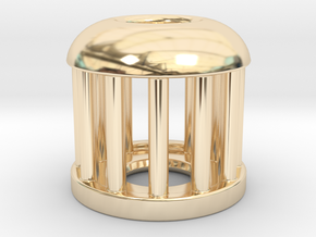 Birdcage Bead 1 (Silver/Brass/Plastic) in 14K Yellow Gold