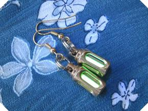 Tritium Earrings 3 (3x11mm Vials) in Raw Bronze