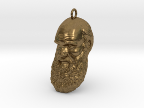 "Charles Darwin 1"" Head, Pendant, Ear Ring, Charm,  in Natural Bronze"