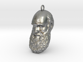 "Charles Darwin 1"" Head, Pendant, Ear Ring, Charm,  in Natural Silver"