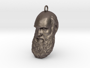 "Charles Darwin 1"" Head, Pendant, Ear Ring, Charm,  in Polished Bronzed Silver Steel"