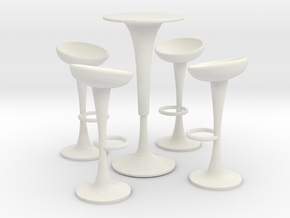 Egg Barstool Set (scale 1:24) in White Strong & Flexible
