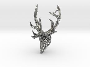 Deer Head Pendant in Natural Silver