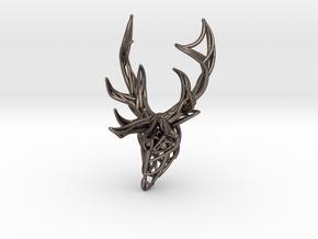 Deer Head Pendant in Polished Bronzed Silver Steel