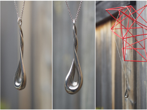 Twisting Pendant in Polished Silver