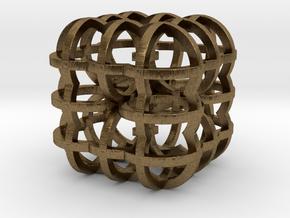 Fractal Cube RB4 30mm in Natural Bronze