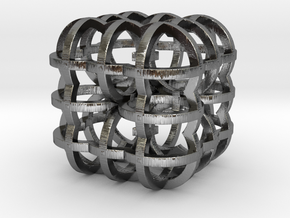 Fractal Cube RB4 30mm in Polished Silver