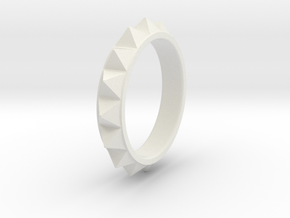 Pyramid Ring in White Natural Versatile Plastic