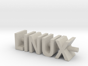 Linux Text Desk Ornament in Natural Sandstone