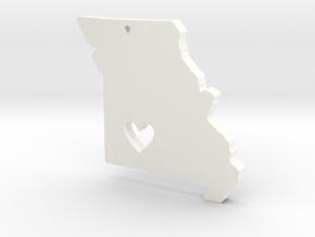 I love Missouri Necklace Pendant in White Processed Versatile Plastic