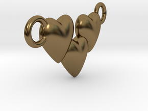 Love Three Hearts (Big Size Pendant) in Polished Bronze