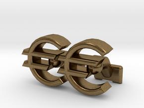 Euro Symbol Cuff-Links in Natural Bronze