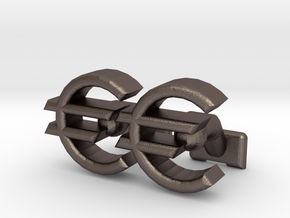 Euro Symbol Cuff-Links in Polished Bronzed Silver Steel