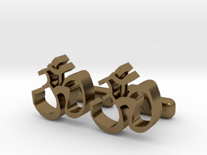 """Ohm Symbol Cufflinks, Part of """"Spirit"""" Collection in Polished Bronze"""