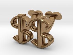 USD Dollar Cufflinks, Money Range in Natural Brass