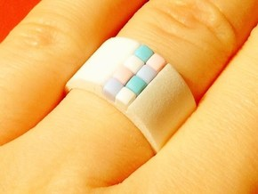 high 8-bit ring (US8/⌀18.2mm) in White Processed Versatile Plastic
