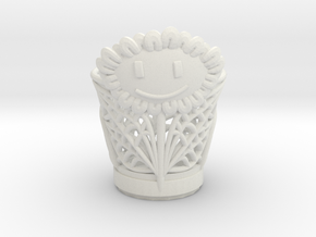 Sun Flower Vase case in White Natural Versatile Plastic