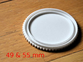Double threaded lens cap: 49 and 55 mm in White Natural Versatile Plastic