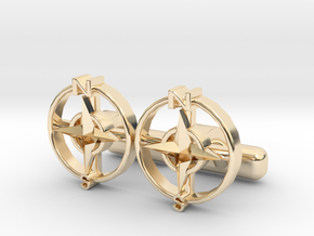 Compass Cl in 14K Yellow Gold