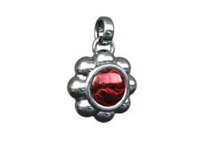 "Pendant ""La Fleur Rouge"" in White Strong & Flexible"