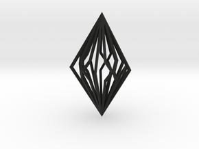 Diamond Pendant mk2 in Black Natural Versatile Plastic