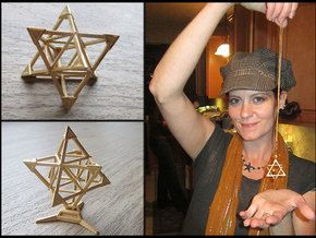 Merkaba Sharp Caps - w Loopet - 5cm in Polished Gold Steel