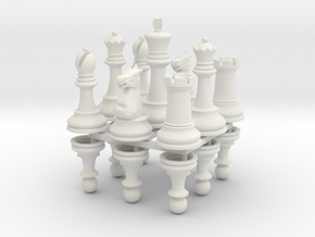 StauntonChessSet OneSide Joined in White Natural Versatile Plastic