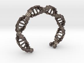 Hex DNA Bracelet BW - 8cm in Polished Bronzed Silver Steel
