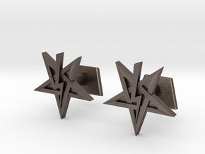 Anton Szandor LaVey's Sigil Cufflinks in Polished Bronzed Silver Steel