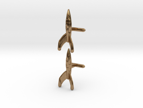 Tintin Rocket Cufflinks in Natural Brass