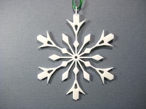 Snowflake Holiday Decor - Tree Ornament in White Processed Versatile Plastic