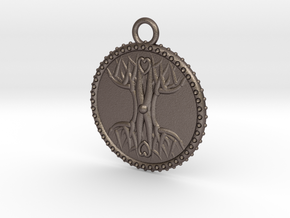 Tree Of Life in Polished Bronzed Silver Steel