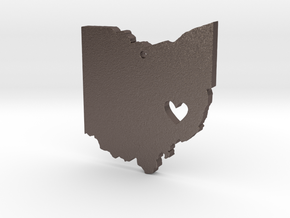 I love Ohio Necklace in Polished Bronzed Silver Steel