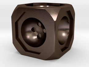 Dice74 in Polished Bronze Steel