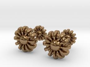 Cufflinks - Flowers in Natural Brass
