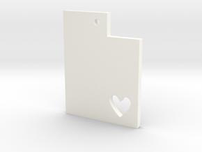 I Love Utah Pendant in White Processed Versatile Plastic