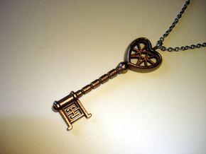 Heart Key Pendant in Stainless Steel