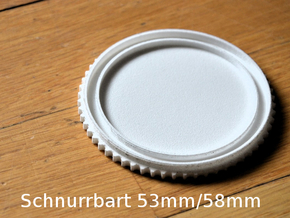 Schnurrbart Mustache Lens Cap 53mm/58mm in White Strong & Flexible