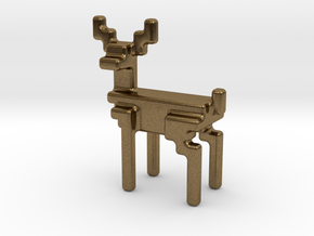 8bit reindeer with rounded corners in Natural Bronze