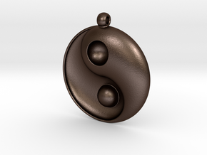 Yin Yang - 6.1 - Necklace in Matte Bronze Steel