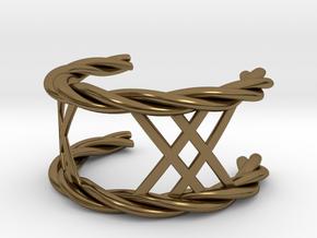 Twisted Lattice Cuff (Men) in Polished Bronze