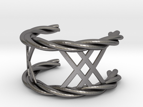 Twisted Lattice Cuff (Men) in Polished Nickel Steel
