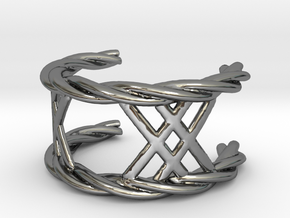 Twisted Lattice Ring (size 13 1/2) in Premium Silver