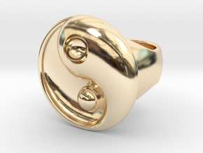 Yin Yang - 6.1 - Ring For Man - 16.5 Mm in 14K Yellow Gold