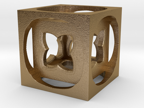 Mini Fractal Cube 20mm in Polished Gold Steel