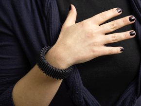 Spike Bracelet - Flexible Medium Size in Black Natural Versatile Plastic