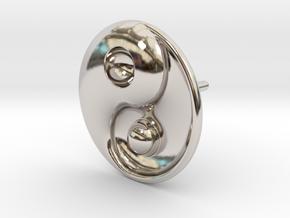 Yin Yang - 6.1 - Stud Earring - Left in Platinum