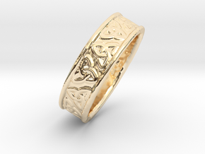 Celtic Triangles 16mm in 14K Yellow Gold
