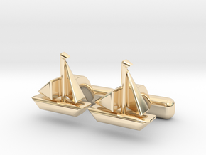 """Ship Cufflinks, Part of """"Nautical"""" Collection in 14K Yellow Gold"""